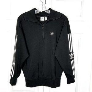 Adidas 1/4 Zip Sweatshirt Three Stripes Size S